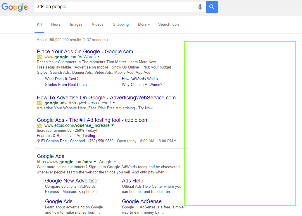 Google Ditches Right Side Ads