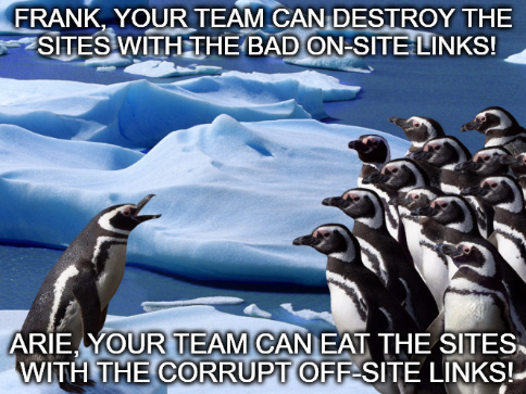 Google Penguin penalizes sites with bad links.