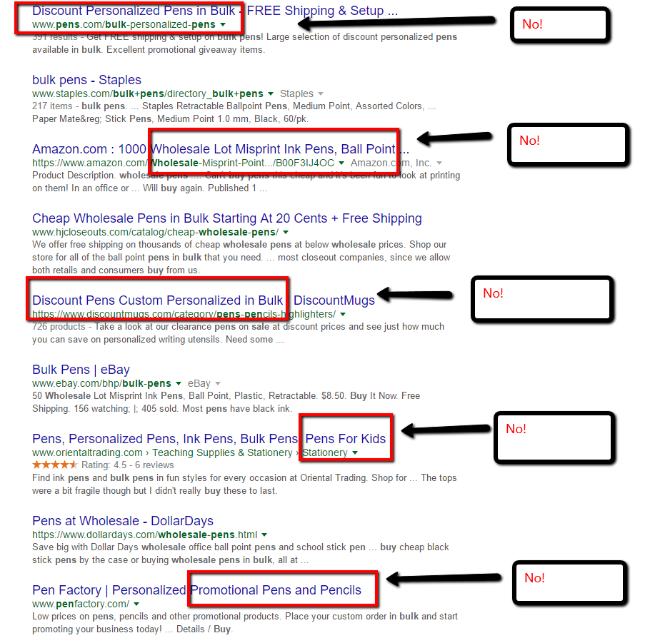 To help with SEO do a negative keyword search